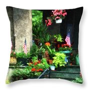 Porch With Geraniums And American Flags Throw Pillow