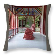Porch With Rocking Chairs Throw Pillow
