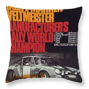 Porsche 1970 Rally World Champion Throw Pillow