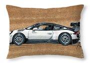 Porsche 911 Gt3r On Wood Throw Pillow