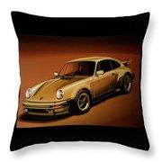 Porsche 911 Turbo 1976 Painting Throw Pillow