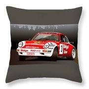 Porsche 911 Rally Illustration Throw Pillow