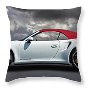 Porsche 911 Turbo S With Clouds Throw Pillow