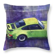Porsche 911 Turbo Green Throw Pillow