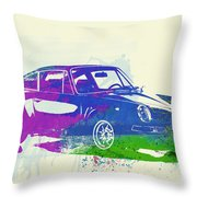 Porsche 911 Watercolor Throw Pillow by Naxart Studio