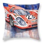 Porsche 917k Winning Le Mans 1970 Throw Pillow