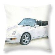 Porsche 993 Cabrio Throw Pillow by Juan Bosco