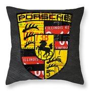 Porsche Sports Car Logo Recycled Vintage License Plate Car Tag Art Throw Pillow