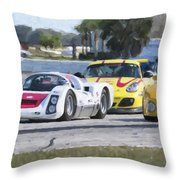 Porsches In The Corner At Sebring Raceway Throw Pillow