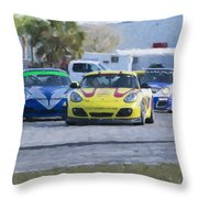 Porsches Rounding The Corner At Sebring Throw Pillow
