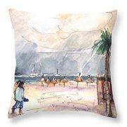 Port Alcudia Beach 01 Throw Pillow