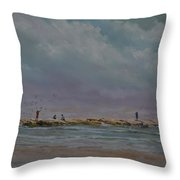 Port Aransas Jetty In Throw Pillow