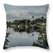 Port Charlotte Elkham Waterway From Tamiami Throw Pillow