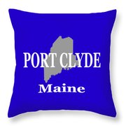 Port Clyde Maine State City And Town Pride  Throw Pillow