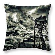 Port Crane At Dusk Throw Pillow