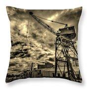 Port Crane At Sunset Throw Pillow