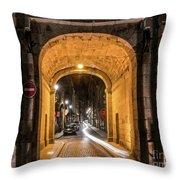 Port Dinan Archway At Night Throw Pillow