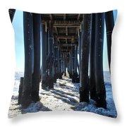 Port Hueneme Pier - Waves Throw Pillow