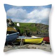 Port Isaac Boats Throw Pillow