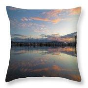 Port Of Anacortes Marina At Sunset Throw Pillow