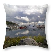 Port Of Anacortes Marina On A Cloudy Day Throw Pillow