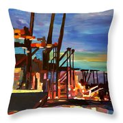 Port Of Hamburg With Container Ships Throw Pillow