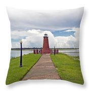 Port Of Kissimmee Lighthouse On Lake Tohopekaliga In Central Florida Throw Pillow