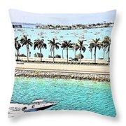 Port Of Miami - Miami, Florida Throw Pillow
