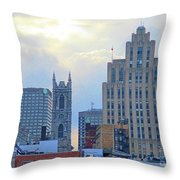 Port Of Montreal Skyline Throw Pillow