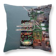 Port Of Oakland Aerial Photo Throw Pillow