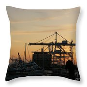 Port Of Oakland Sunset Throw Pillow