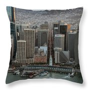 Port Of San Francisco And Downtown Financial District Throw Pillow