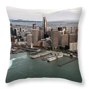 Port Of San Francisco And Downtown Financial Districtport Of San Francisco And Downtown Financial Di Throw Pillow