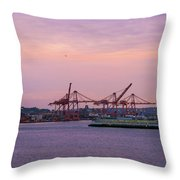 Port Of Seattle During Colorful Sunset Throw Pillow