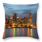 Port Of Singapore With City Skyline Throw Pillow