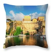Port Of Sorrento, Southern Italy Throw Pillow