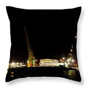 Port Of Tampa At Night Throw Pillow