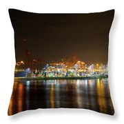 Port Of Vancouver Bc At Night Throw Pillow