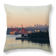 Port Of Vancouver By Stanley Park Throw Pillow