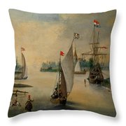 Port Scene With Sailing Ships Throw Pillow