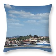 port with ferry boats Corfu Greece Throw Pillow