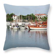 Port With Sailboat And Fishing Boat Throw Pillow