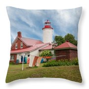Portage River - Jacobsville - Lighthouse Throw Pillow