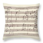 Portion Of The Manuscript Of Beethoven's Sonata In A, Opus 101 Throw Pillow