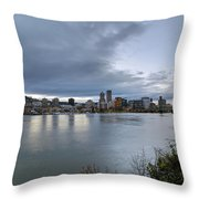 Portland City Downtown Cityscape During Evening Throw Pillow