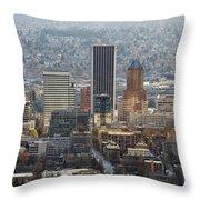 Portland City Downtown Cityscape Panorama Throw Pillow