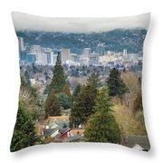 Portland City Skyline From Mount Tabor Throw Pillow