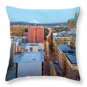 Portland Cityscape Along Morrison Bridge Throw Pillow
