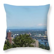 Portland Cityscape And Bridges On A Clear Blue Day Throw Pillow