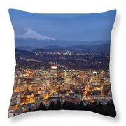 Portland Cityscape During Blue Hour Throw Pillow